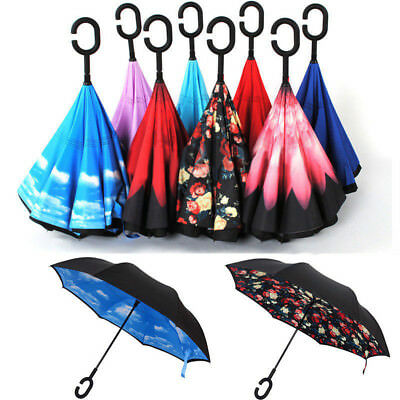 US C-Handle Double Layer/Upside Down/Reverse Opening Umbrella Inverted Windproof