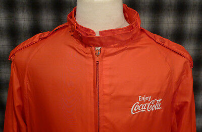 VINTAGE King Louie Pro-Fit Coca-Cola Jacket Large 80s All Red Zip Up Windbreaker
