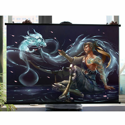 Game Overwatch Hanzo Home Decor Poster Wall Scroll Children's gifts 60*40cm
