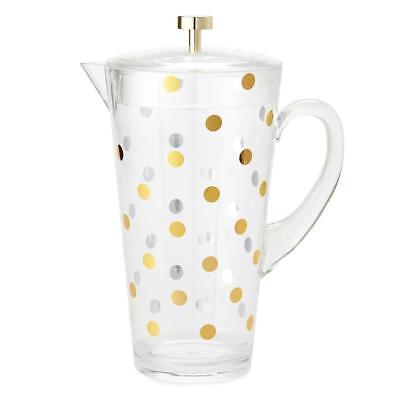 Kate Spade New York Gold Dots Acrylic Pitcher Beverage Drink Dispenser