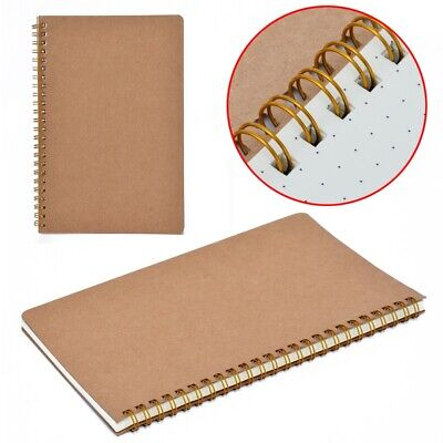 A5 Bullet Journal Notebook Hardcover Cardboard Grid Dotted Spiral Diary 100pages