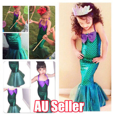 Kids Ariel Little Mermaid Set Girl Princess Dress Party Cosplay Costume AU Stock
