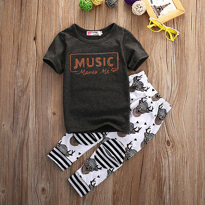 USA 2pcs Kids Baby Boys Girl Clothes T-shirt+Pants Set Tracksuit Outfit Trousers