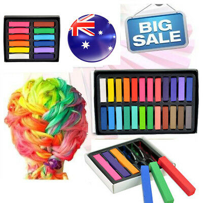 Colouring Hair Chalk 12 24 Colors Temporary Pastel Non-Toxic DIY Painting Dye AU