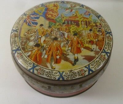 Coronation Carriage', vintage, round Biscuit Tin, c.1953