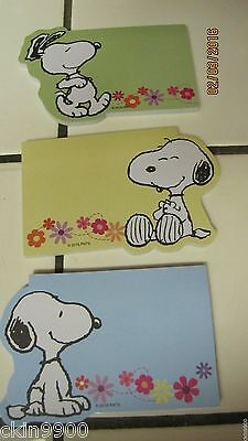 Peanuts Snoopy Post It Note Pads Set Of 3 Different Ones  ( Spring Time) New