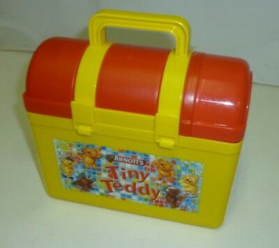 ARNOTT'S 'Tiny Teddy', Lunchbox, red domed-lid, Biscuit Box