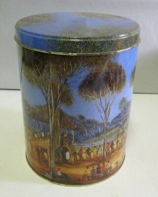 Pro Hart's 'Races', cylindrical Biscuit Barrel Tin, c.1995