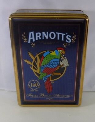 Arnott's 'Celebrating 140 Years', Parrot on blue, 500g. Biscuit Tin, c.2005