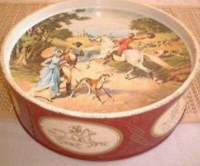 English hunting scene', tray-top lid, round Biscuit Tin