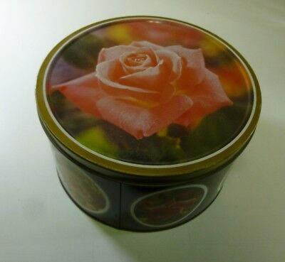 Arnott's 'Roses', purple-sided, pink Tiffany on lid, 900g. Biscuit Tin, c.1988