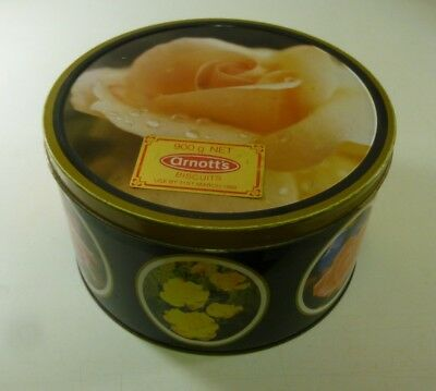 Arnott's 'Roses', black-sided, apricot Perle D'Or on lid, 900g. Biscuit Tin, c.1