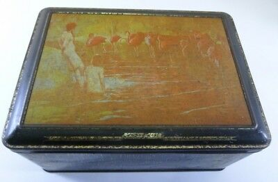 Flamingoes', hinged-lid Biscuit Tin, made by R. HUGHES, c.1940's