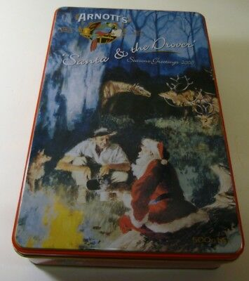 Arnott's 'Santa & the Drover', rect., 500g. Biscuit Tin, c.2000