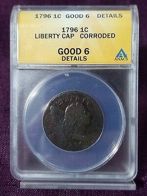 "1796 ANACS G6Details Flowing Hair ""Liberty Cap"" Large Cent #W2544AEE"