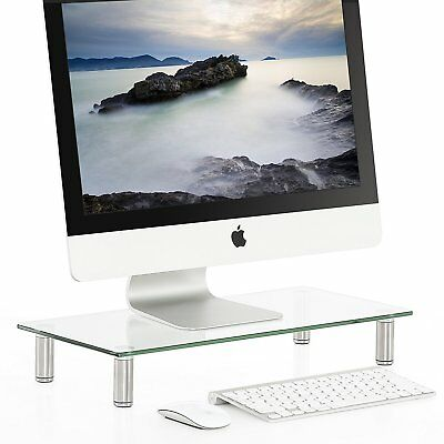 Glass Computer Monitor Stand TV Screen Display Riser Clear Laptop Shelf Stand