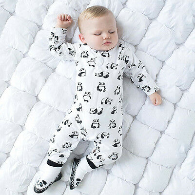 AU Newborn Baby Boy Girl Panda Romper Bodysuit Playsuit Clothes Outfits Set