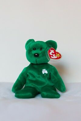 TY BEANIE BABY Erin The Bear 1997 PE PELLETS Irish Clover Green ... 0af716e053d0