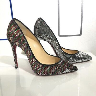 700c8ad510eb Christian Louboutin Pigalle Pumps Silver Multicolor Sequins Size 37.5 Nib