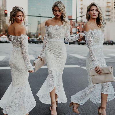 New White Lace Mermaid Strapless Long Sleeve Wedding Dress Bridal Gown