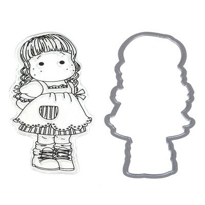 Girls Maid Silicone Stamp/Seal With Cutting Dies Frame DIY Scrapbooking Decor