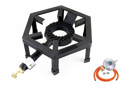 Large Gas Boiling Ring Cast Iron Burner Camping Cooking Stove BBQ LPG SGB-08 UK