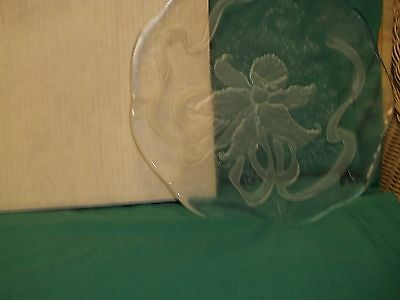 """L E Smith Glass Clear Buffet Serving Plate 13"""""""