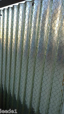 Industrial Heavy Wavy Rippled Glass 29 x 51 Wire Inside Architectural Salvage