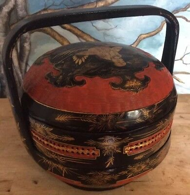 Antique Chinese Lacquered Wedding Basket Woven Bamboo