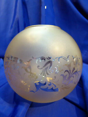 GLOBE DE LAMPE A PETROLE EN VERRE SATINE & DECOR . H 115 mm D 61 mm. REF 5046