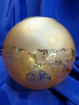 GLOBE DE LAMPE A PETROLE EN VERRE SATINE & DECOR . H 116 mm D 61 mm. REF 5043