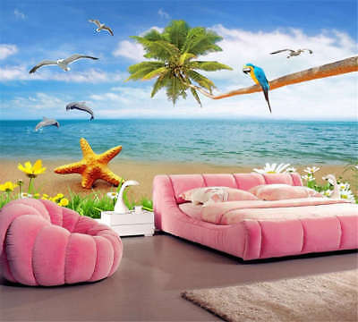 Concise Cute Dolphin 3D Full Wall Mural Photo Wallpaper Printing Home Kids Decor