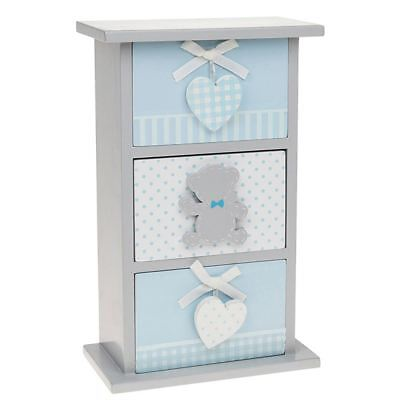 Tiny Ted 3 Drawer Vertical Chest of Drawers Blue & Grey 26cm high