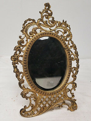Antique French Gilt Bronze Picture Frame Mirror Rococo Decorative