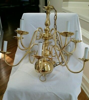 Polished Brass Chandelier - Traditional 10 arm 2 tier with shades - $59