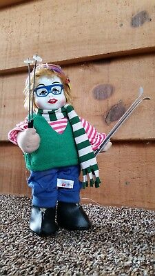 """8"""" Porcelain Skiing Doll, Girl Clown Doll Made In Thailand Posable Arms"""