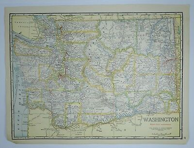 VINTAGE WASHINGTON MAP, OLD WA State Map, US History Map, Antique ...