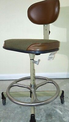 Vintage Midcentury Cramer Industries Drafting Stool Chair Rolling Swivel