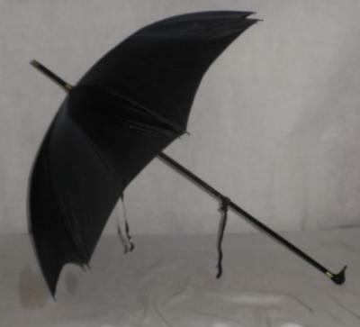 Vintage Gold Plate Black Canopy Umbrella- Duck With Glass Eyes Handle 92cm