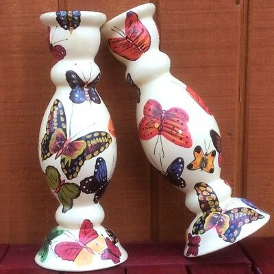 Large Handpainted Pair of Butterfly Ceramic Candlestick Holders | Taper Candles