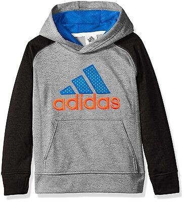 (Little Boys, 7, Heather/Blue) - adidas Boys' Classic Pullover Hoodie