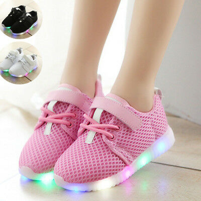 Kids LED Shoes Boys Girls Flash Light Baby Toddler Running Sneakers Light Weight