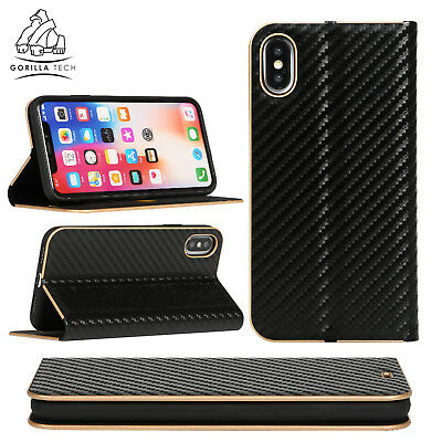 Gorilla Tech Carbon Fibre Ultra Slim Book Card Slot Light Case for Apple Samsung