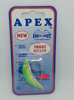 Apex trout lure, Chrome/green chartreuse flare tail. Hot Spot. Shipping is Free