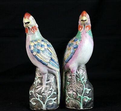 "Pair of Antique Famille Rose 8"" Porcelain Phoenix Bird Figurines Republic Period"