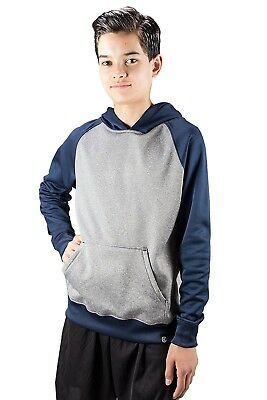 (Large, Navy) - Covalent Activewear Youth Ringer Hoody. Free Delivery