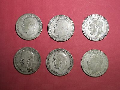 GREAT BRITAIN - Florin - 2 Shilling - Lot of 6 - 1923,1923,1924,1928,1933,1933