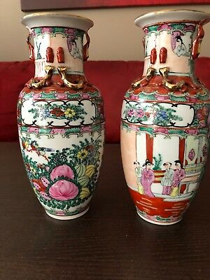 "Pair Of Chinese Oriental Asian Vases Hand Painted Porcelain Vintage 10"" Tall"