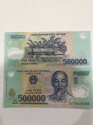 2 x 500,000 500000 1 Million Dong VIETNAM MONEY POLYMER CURRENCY BANKNOTES UNC