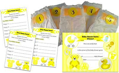 What's in the nappy? Dirty Nappy Baby Shower Game, 12 Players Girl / Boy /Unisex
